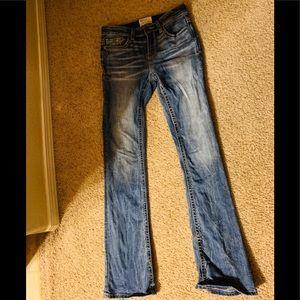 Womens Bke Stella mid-rise bootcut jeans. Size 25L